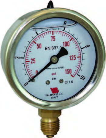 MANOMETER 0-10 bar GLYCERIN Bočný